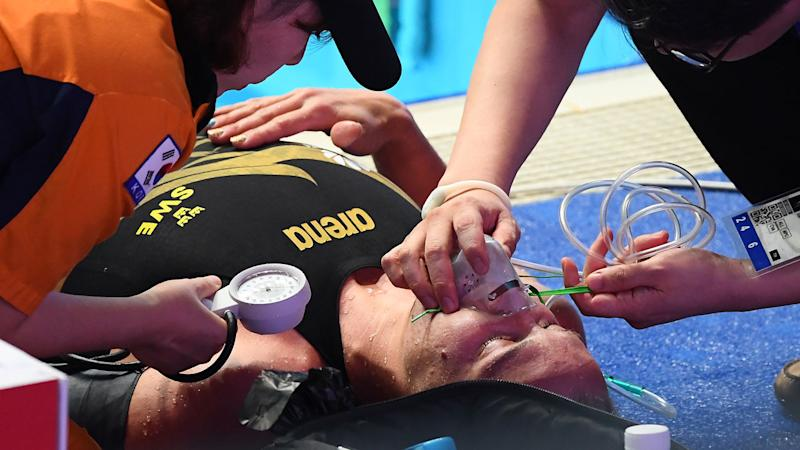 Sarah Sjostrom required oxygen on the pool deck immediately after the 200m freestyle final. Pic: Getty