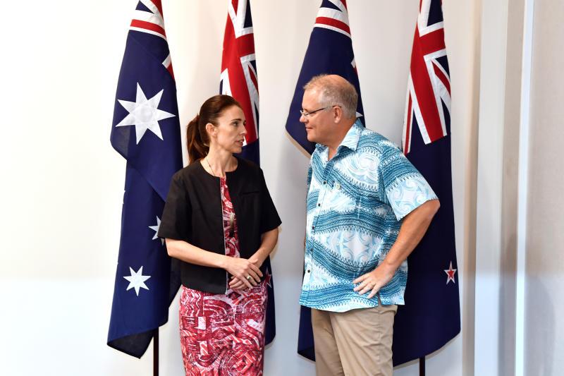 New Zealand's Prime Minister Jacinda Ardern with Australia's Prime Minister Scott Morrison at the Pacific Islands Forum. She has been slammed by Alan Jones.