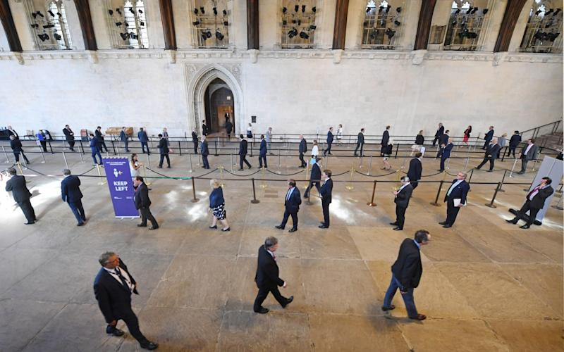 MPs were forced to queue for more than a half a mile as the first votes got underway on Tuesday