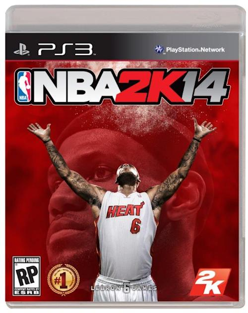 This image provided by 2K Sports shows two-time NBA champion Lebron James of the Miami Heat on the cover of the new NBA 2K14 video game. James is taking some of his talents during the offseason to the best-selling basketball video game franchise as a music curator. (AP Photo)