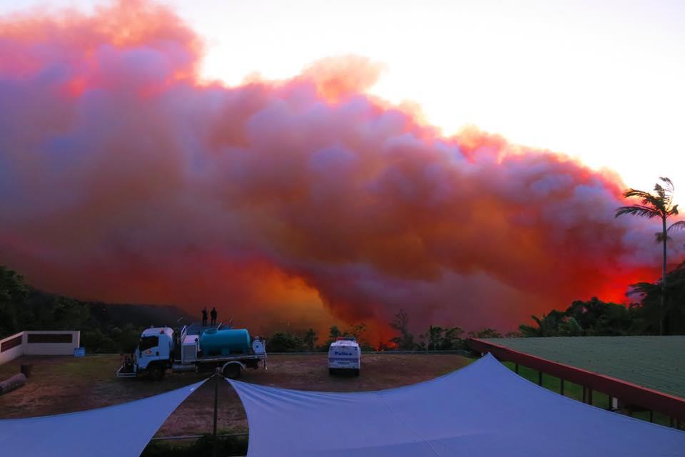 <p>Extreme weather conditions in Central Queensland which fuelled firestorms on Wednesday have eased slightly on Thursday, but authorities are warning conditions will remain dangerous for some days. Source: The Eungella Chalet </p>