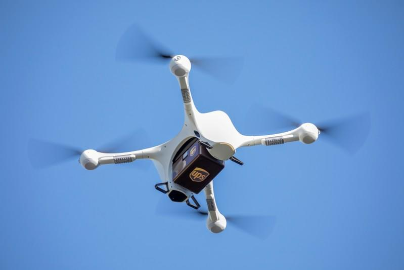 FILE PHOTO: A UPS drone makes a Flight Forward medical delivery on WakeMed Health & Hospitals' main campus in Raleigh