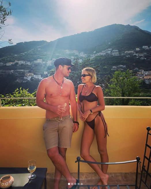 Lara Worthington pictured in a bikini with her brother Joshua Bingle