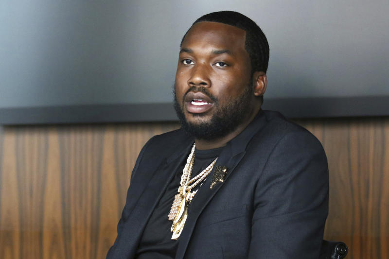 Meek Mill makes an announcement of the launch of Dream Chasers record label in joint venture with Roc Nation, at the Roc Nation headquarters on Tuesday, July 23, 2019, in New York. (Photo by Greg Allen/Invision/AP)