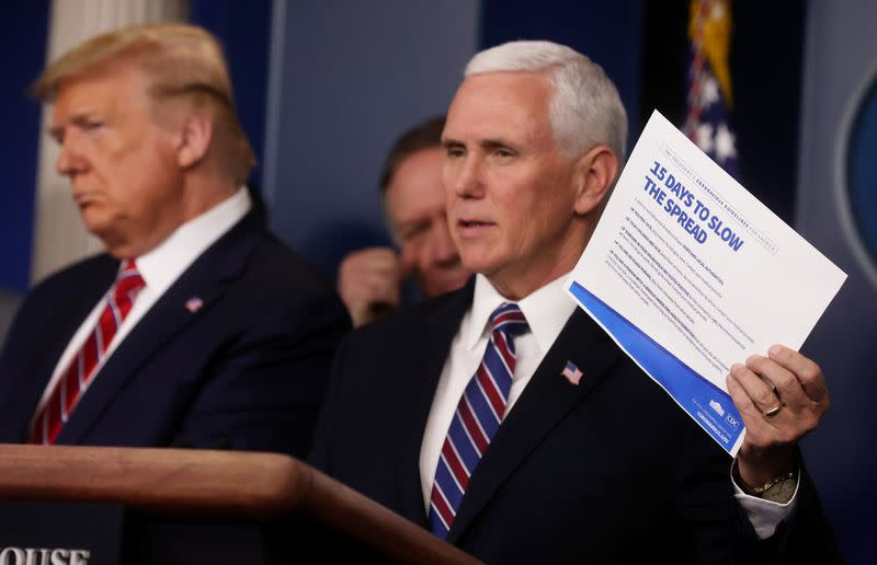 U.S. VP Pence says will be tested for coronavirus after aide tested positive