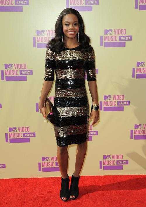 Olympic gymnast Gabrielle Douglas attends the MTV Video Music Awards on Thursday, Sept. 6, 2012, in Los Angeles. (Photo by Jordan Strauss/Invision/AP)