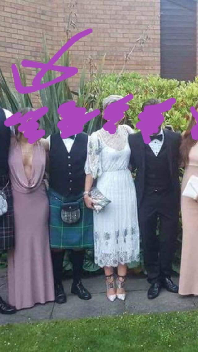 Wedding guest's 'vagina dress' lampooned online. Photo: Facebook.