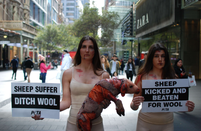 PETA protesters in Pitt Street Mall with a bloody sheep prop and anti-wool signs on Wednesday afternoon. Source: Steven Walker via PETA