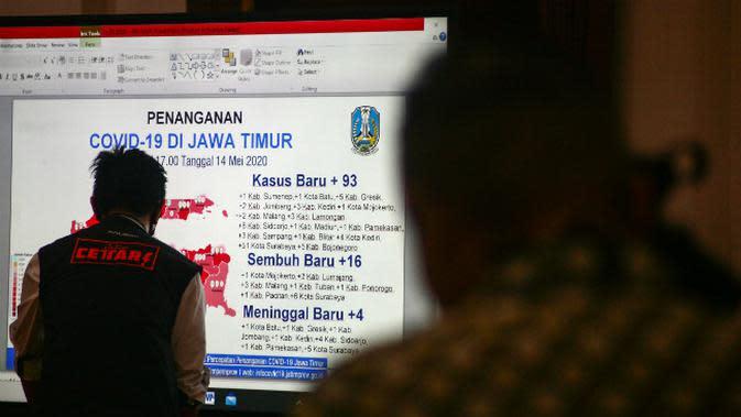 Peta persebaran Corona COVID-19 di Jawa Timur pada Kamis, 14 Mei 2020. (Foto: Liputan6.com/Dian Kurniawan)