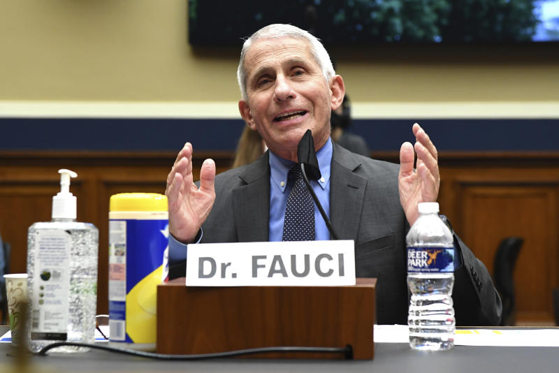 Director of the National Institute of Allergy and Infectious Diseases Dr. Anthony Fauci testifies before a House Committee on Energy and Commerce on the Trump administration's response to the COVID-19 pandemic on Capitol Hill in Washington on Tuesday, June 23, 2020. (Kevin Dietsch/Pool via AP)