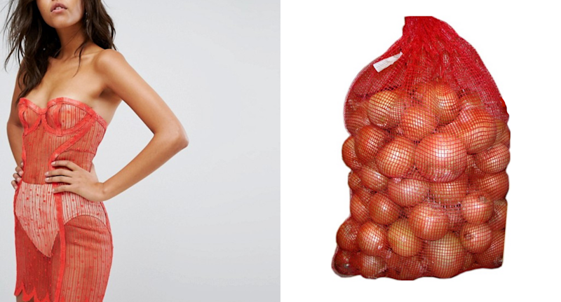 A photo of a model wearing Elissa Poppy's Lacetex Slip Dress next to a bag of onions.