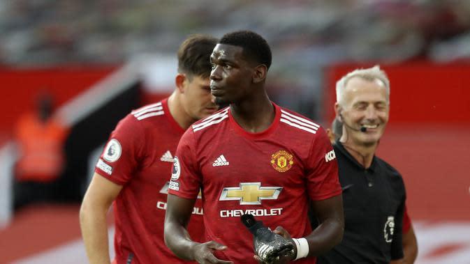 Gelandang Paul Pogba pada laga Liga Inggris antara Manchester United dan Crystal Palace di stadion Old Trafford di Manchester, Inggris, Sabtu , 19 September 2020.. (Martin Rickett / Pool via AP)