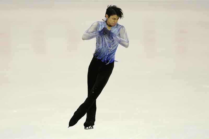 Yuzuru Hanyu of Japan performs in the men's short program during the ISU Grand Prix of Figure Skating in Sapporo, northern Japan, Friday, Nov. 22, 2019. (AP Photo/Toru Hanai)