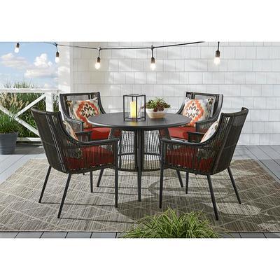 Hampton Bay Bayhurst 5 Piece Black, Black Wicker Outdoor Furniture Sets