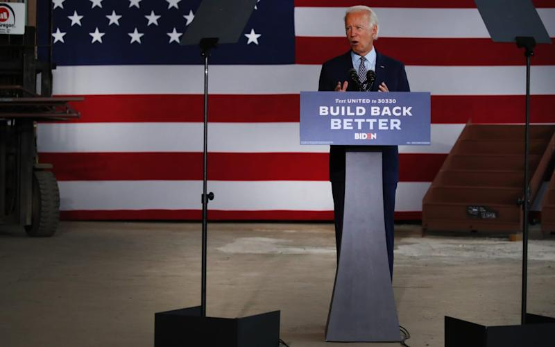 Joe Biden speaking near his childhood home of Scranton, Pennsylvania - Spencer Platt/Getty Images