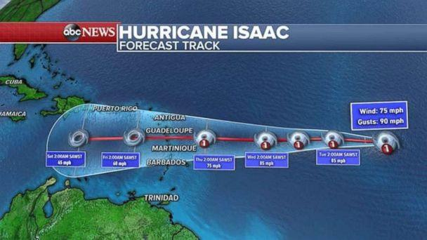 PHOTO: Hurricane Isaac is a Category 1 storm and moving west toward the Caribbean. (ABC News)