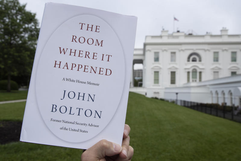 "A copy of ""The Room Where It Happened,"" by former national security adviser John Bolton, is photographed at the White House, Thursday, June 18, 2020, in Washington. (AP Photo/Alex Brandon)"