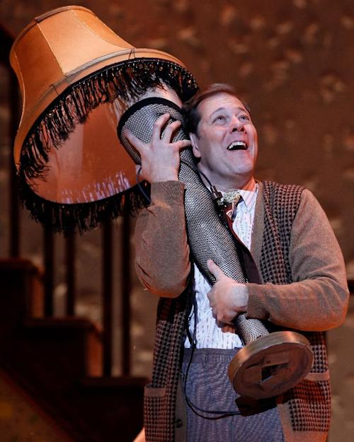 """This theater image released by Keith Sherman & Associates shows John Bolton during a performance of """"A Christmas Story, The Musical"""" in New York. (AP Photo/Keith Sherman & Associates, Carol Rosegg)"""