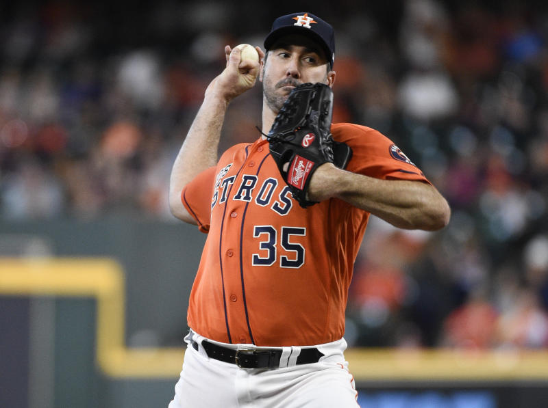 Houston Astros starting pitcher Justin Verlander delivers during the first inning of a baseball game against the Los Angeles Angels, Sunday, Sept. 22, 2019, in Houston. (AP Photo/Eric Christian Smith)