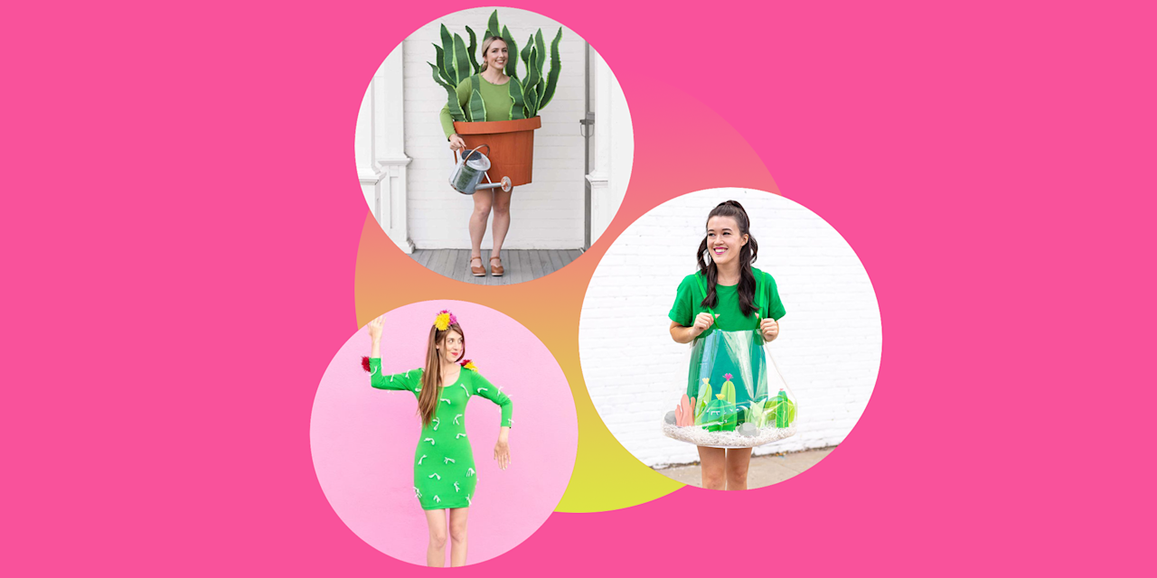 """<p>Even though Halloween is a time for scare and spook, it's also an occasion to dress as the things you love most. That's exactly why these DIY plant costumes should be at the top of your list this year, no matter how green or black your thumb may be. </p><p>These <a href=""""https://www.goodhousekeeping.com/holidays/halloween-ideas/g1709/homemade-halloween-costumes/"""" target=""""_blank"""">easy-to-make costume ideas</a> call for supplies you already have around the house, including leftover yarn from knitting projects and watering cans straight from your garden. Regardless if you're on the hunt for <a href=""""https://www.goodhousekeeping.com/holidays/halloween-ideas/g385/popular-kids-halloween-costumes/"""" target=""""_blank"""">a costume idea that your kid will actually get excited about</a> or simply in need of a <a href=""""https://www.goodhousekeeping.com/holidays/halloween-ideas/g2750/easy-last-minute-halloween-costumes-diy/"""" target=""""_blank"""">last-minute costume</a> to wear to your adult Halloween festivities, you're bound to find something party-ready on this list. Since there are so many different kinds of plants that deserve to be celebrated, you'll find step-by-step tutorials for cactus, tree, and flower costumes. Don't fret: Even the prickliest idea (a human-turned-cactus!) is comfortable enough for even the fussiest trick-or-treaters. </p>"""