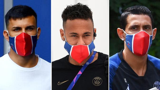 Kombinasi gambar menunjukkan (kiri-kanan) pemain Paris Saint-Germain Leandro Paredes di Saint-Germain-en-Laye pada 22 Juni 2020, Neymar di Lisbon pada 20 Agustus 2020, dan Angel Di Maria di Saint-Germain-en-Laye pada 2 Juli 2020. Ketiganya dinyatakan positif COVID-19. (Franck FIFE, Lluis GENE/AFP)