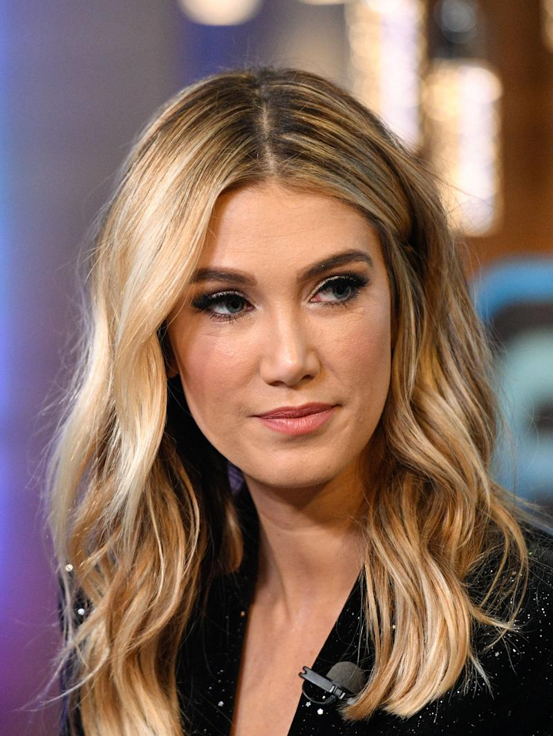 """Delta Goodrem visits """"Extra"""" at Universal Studios Hollywood on January 31, 2019 in Universal City, California. (Photo by Noel Vasquez/Getty Images)"""