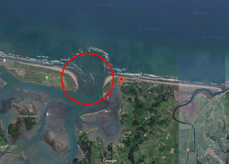 A satellite image of the estuary between Ohiwa Beach and the suburb of Ohope on the other side.