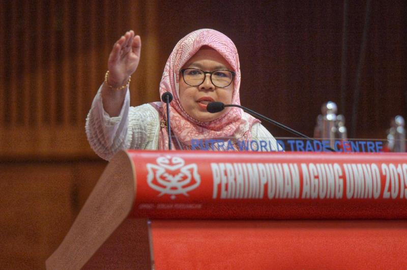 Umno Perak Bukit Gantang division Jamilah Zakaria speaks during the Umno General Assembly 2019 at PWTC in Kuala Lumpur December 7, 2019. — Picture by Shafwan Zaidon