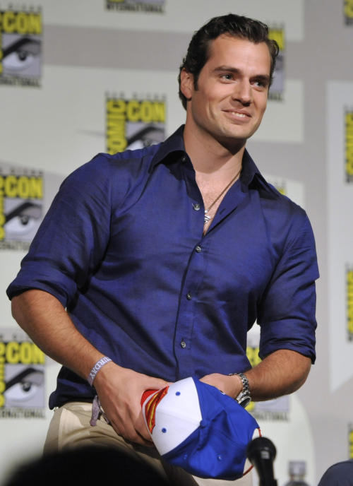 """Henry Cavill attends the """"Superman"""" 75th Anniversary panel on Day 4 of the Comic-Con International on Saturday, July 20, 2013 in San Diego. (Photo by Chris Pizzello/Invision/AP)"""