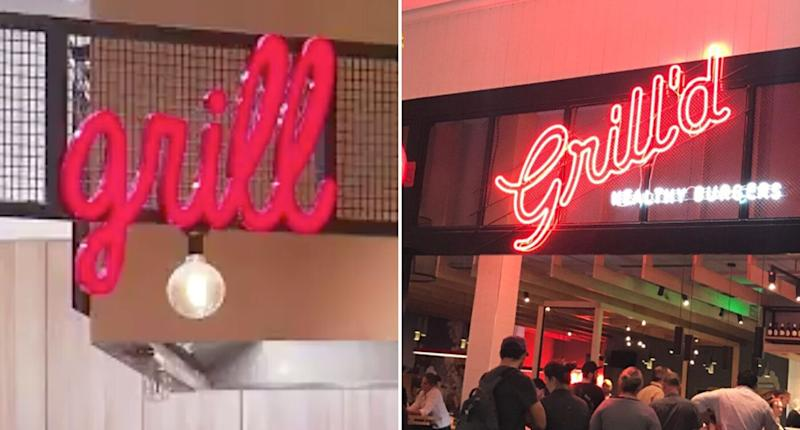 Pictured are Tender Gourmet Butchery's grill signage and a sign for burger chain Grill'd. Grill'd wants the grill sign taken down arguing it looks too similar to theirs.