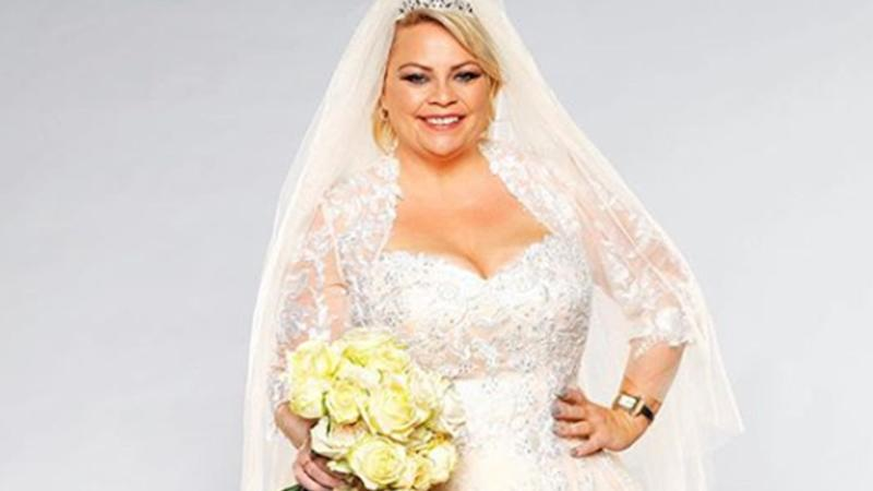 A photo of Married At First Sight star Jo McPharlin in a wedding gown.