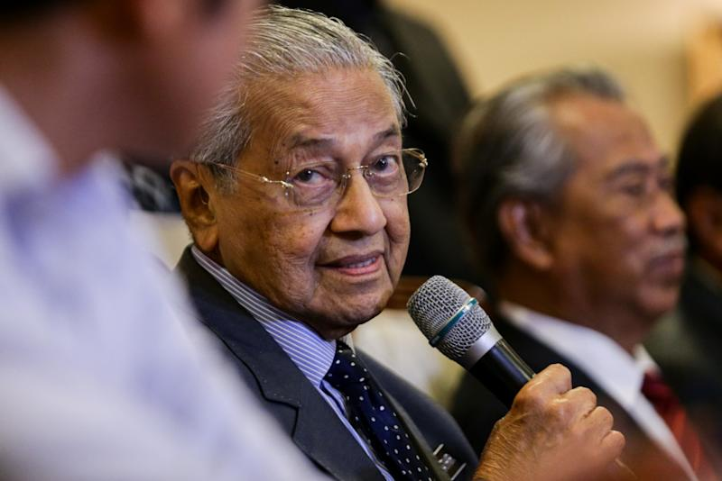 Tun Dr Mahathir during a Bersatu press conference in Perdana Leadership Foundation in Putrajaya July 15, 2019. — Picture by Ahmad Zamzahuri