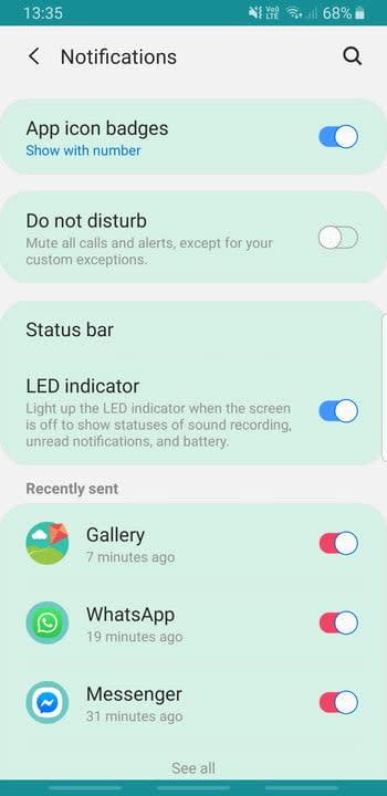 Screenshot of Samsung Galaxy S8 App icon badges settings