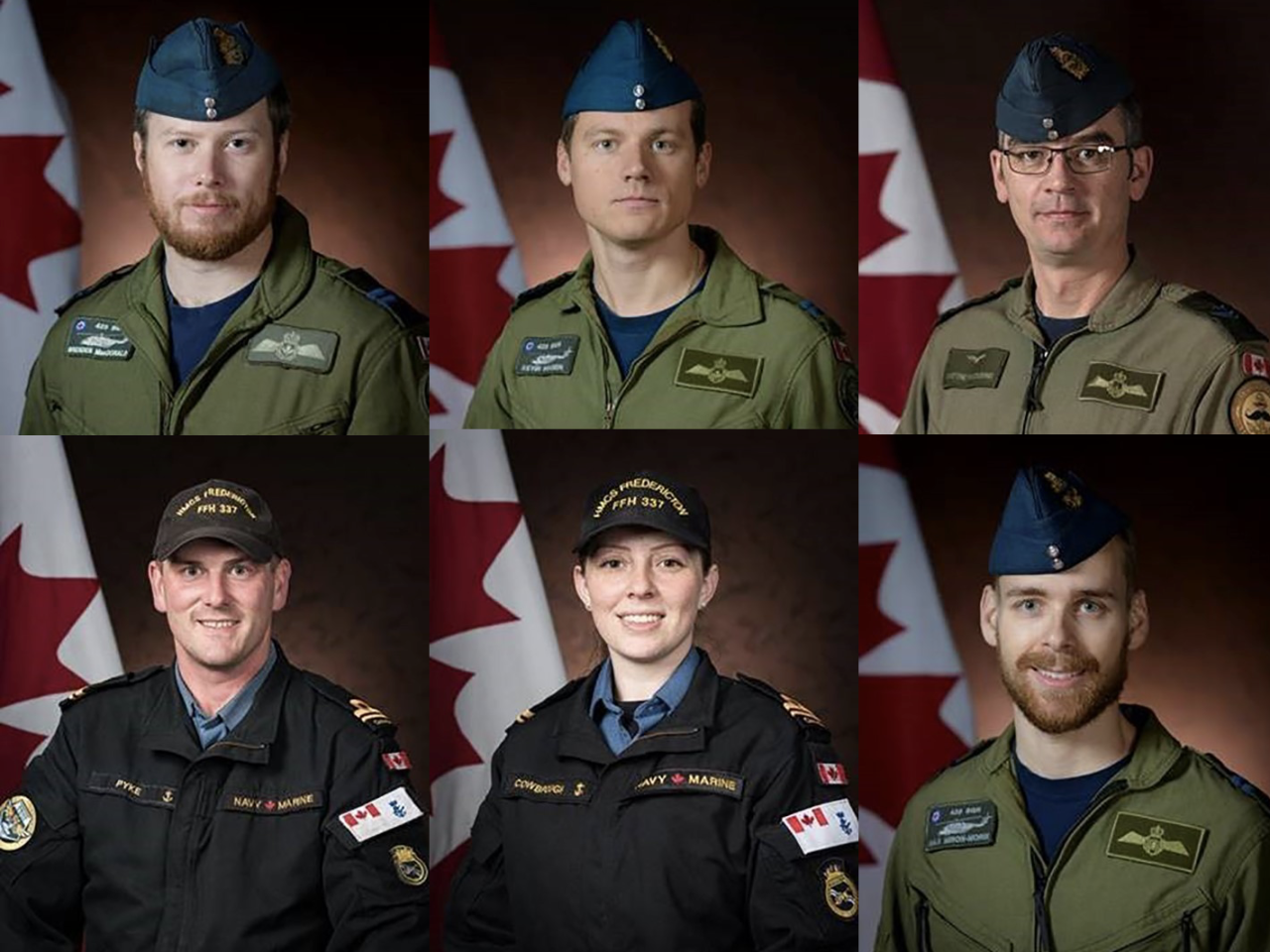 Composite image shows six Canadians who were aboard the CH-148 Cyclone helicopter that crashed into the sea on Wednesday.