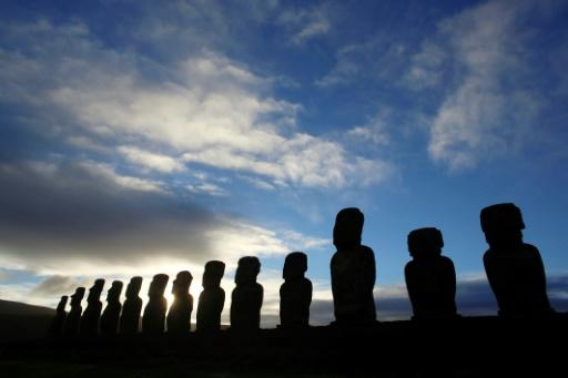 Stone figures known as  Moais on Rapa Nui or Easter Island 3,500 km (2175 miles) from mainland Chile