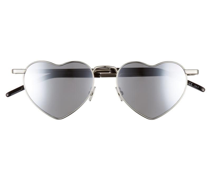 Saint Laurent Loulou 52mm Heart Shaped Sunglasses. Image via Nordstrom.