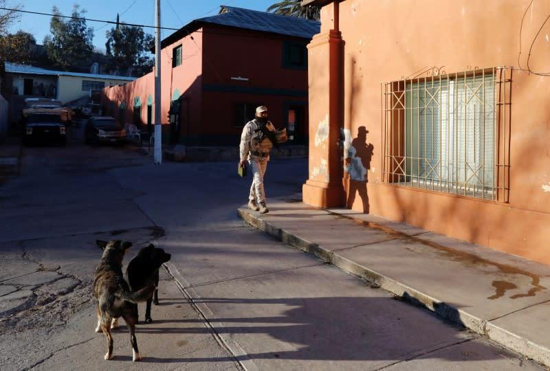 Soldiers are seen in Bavispe town near La Mora