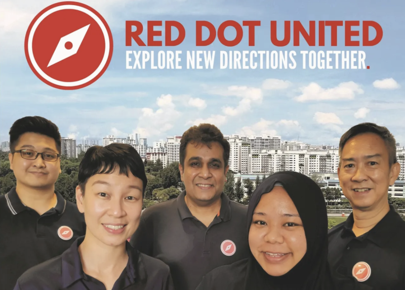 (From left to right) Red Dot United candidates Nicholas Tang, Michelle Lee, Ravi Philemon, Liyana Dhamirah, and Alec Tok. (PHOTO: Red Dot United website)