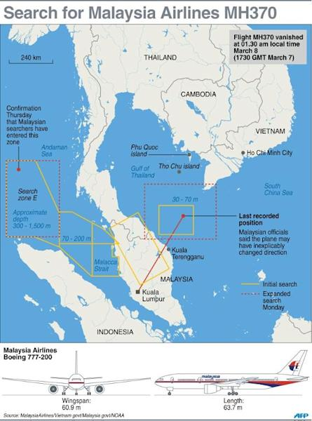 Map on the current search area for Malaysia Airlines MH370