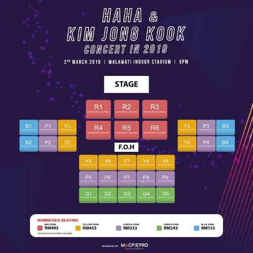 The seating plan for the concert.