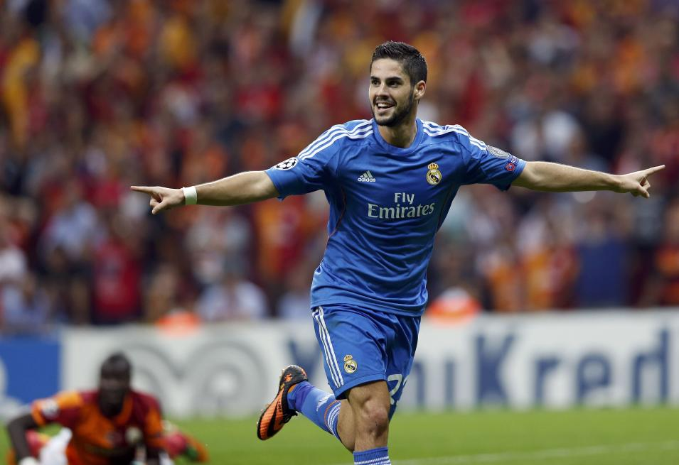 Real Madrid's Isco celebrates a goal against Galatasaray during their Champions League soccer match in Istanbul