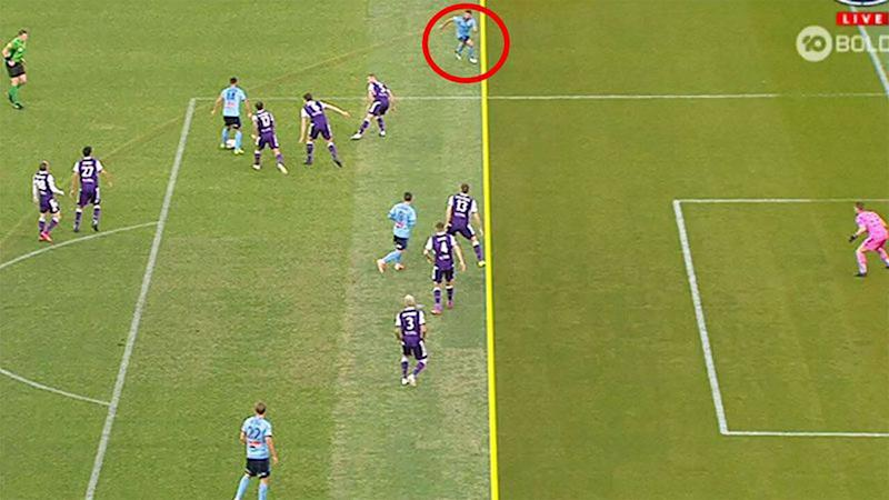 The A-League decision that caused an uproar in the grand final. (Image: Channel 10)