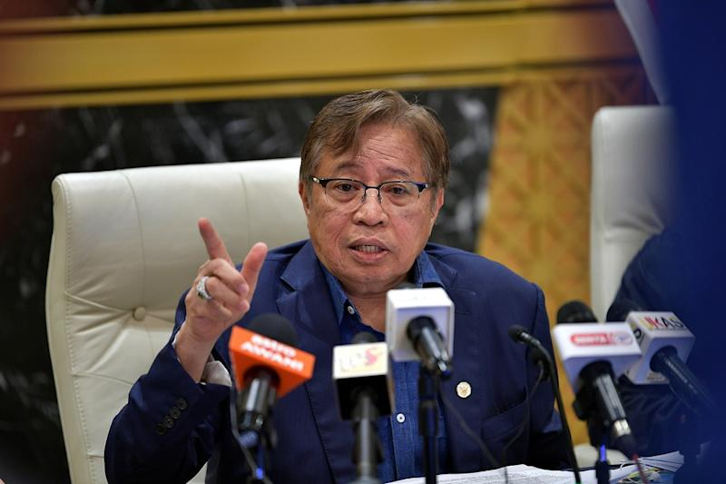 Sarawak Chief Minister Datuk Patinggi Abang Johari Openg speaks during a press conference in Kuching March 17, 2020. — Bernama pic