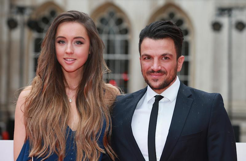 Emily Andre, seen here with husband, Peter Andre at The Sun Military Awards in 2016, says she is put off by pregnancy at the moment. (Getty Images)