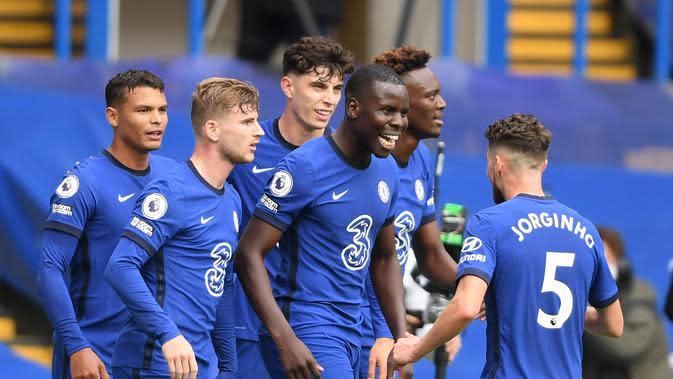 Selebrasi pemain Chelsea saat melawan Palace di Liga Inggris (AFP)