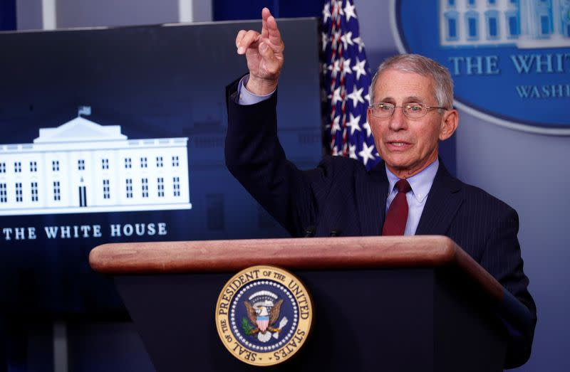 Dr. Anthony Fauci addresses the daily coronavirus response briefing at the White House in Washington