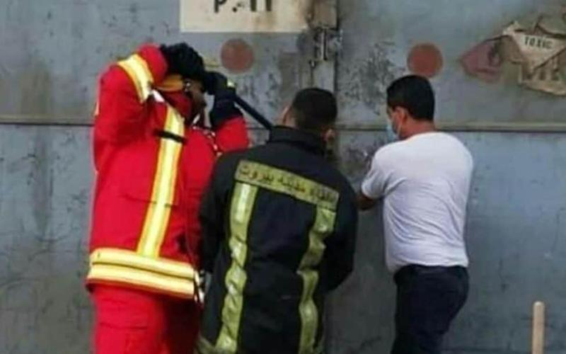 A photo emerged showing the crew attempting to access the building - Twitter