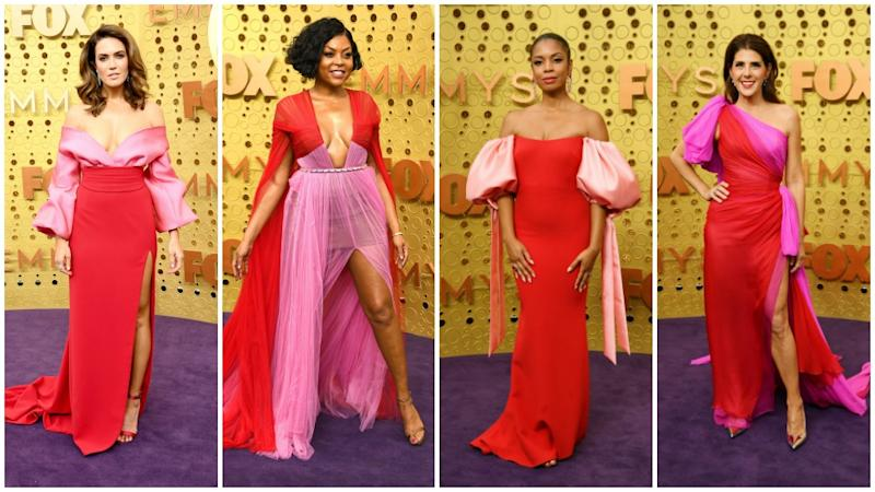 Mandy Moore, Taraji P. Henson, Marisa Tomei and Susan Kelechi Watson all chose the same colour combo for the 2019 Emmys. Photo: Getty Images