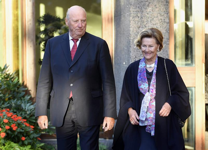 Norway's King Harald V and Queen Sonja arrive at the State Guest House, Helsinki, Finland, on Monday Sept. 5, 2016, during a state visit to Finland. (Heikki Saukkomaa/Lehtikuva via AP)