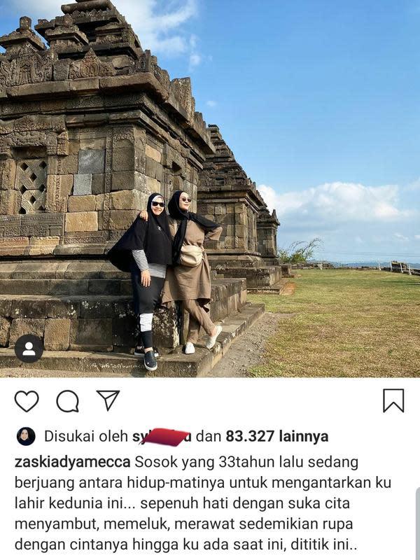 Unggahan Zaskia Adya Mecca. (Foto: Instagram @zaskiadyamecca)